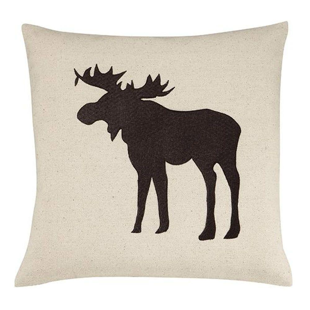 Home Decorators Collection Cotton Ivory and Brown 18 in. Square Moose Pillow