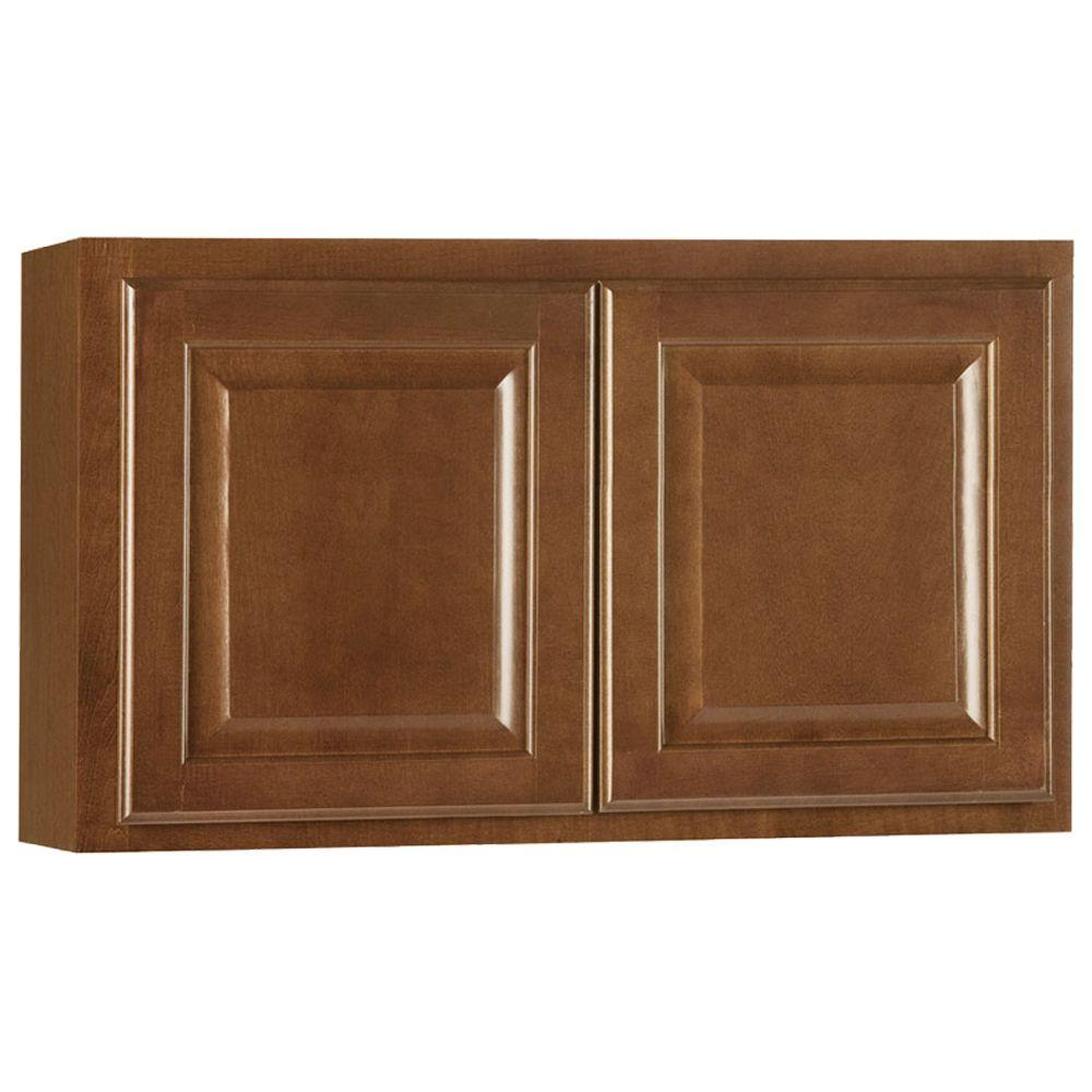 Hampton Bay Hampton Assembled 30x18x12 in. Wall Bridge Kitchen Cabinet in Cognac