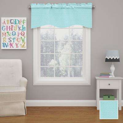 Kendall 18 in. L Polyester Rod Pocket Valance in Pool (1-Pack)