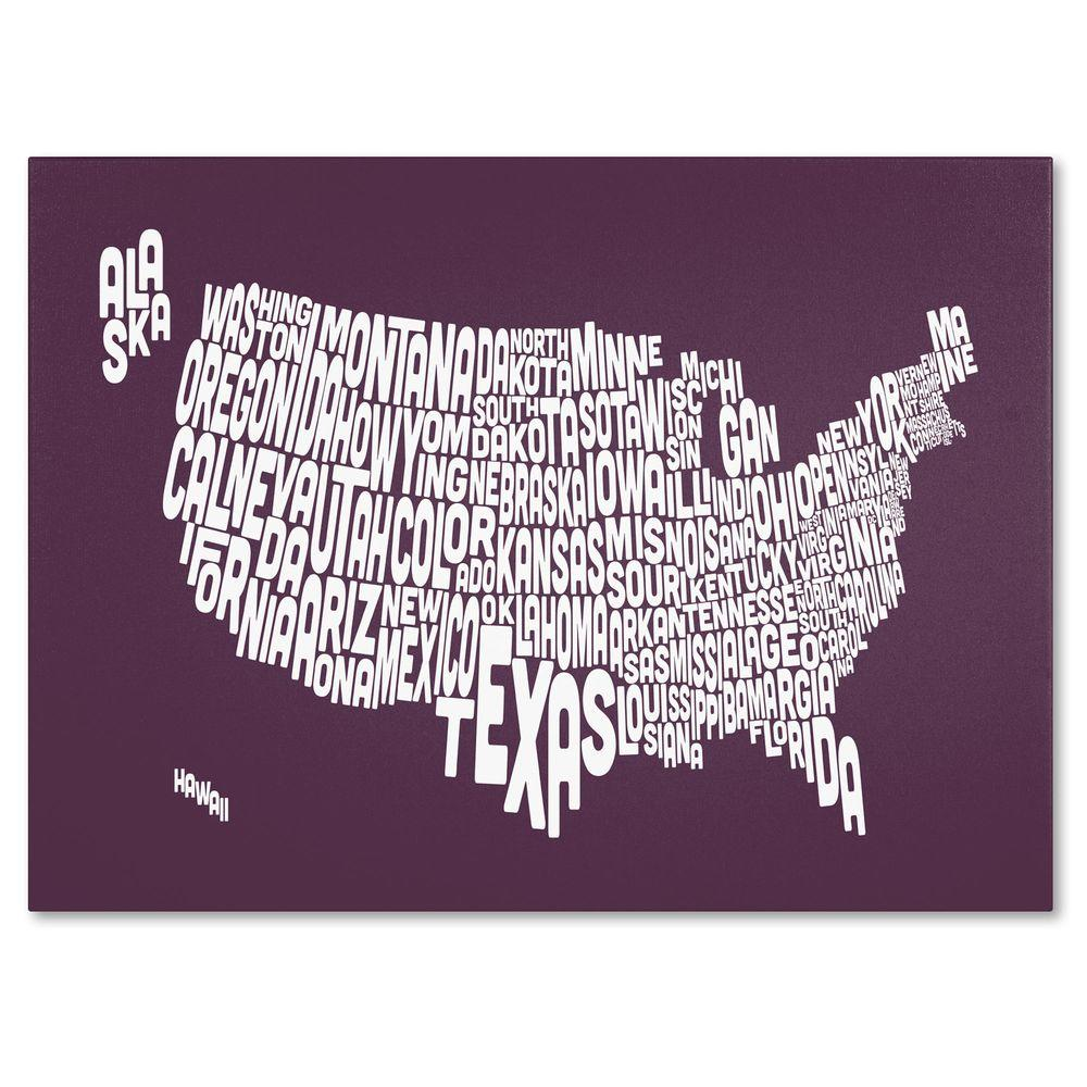 null 30 in. x 47 in. USA States Text Map - Mulberry Canvas Art