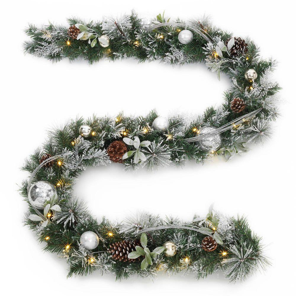 Home Accents Holiday 9 Ft Battery Operated Snowy Silver Pine Artificial Garland With 36 Clear Led Lights