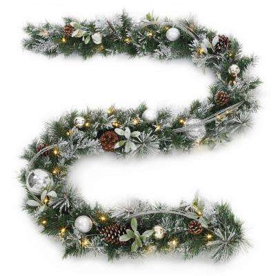 9 ft. Snowy Silver Pine Battery Operated Artificial Garland with 36 Clear LED Lights
