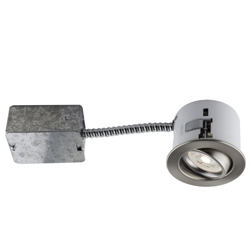3-in.Brushed Chrome Recessed LED Lighting Kit with GU10 Bulb Included