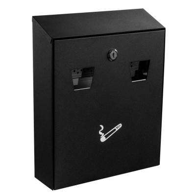 Black Wall Mounted Cigarette Disposal Station Outdoor Ashtray