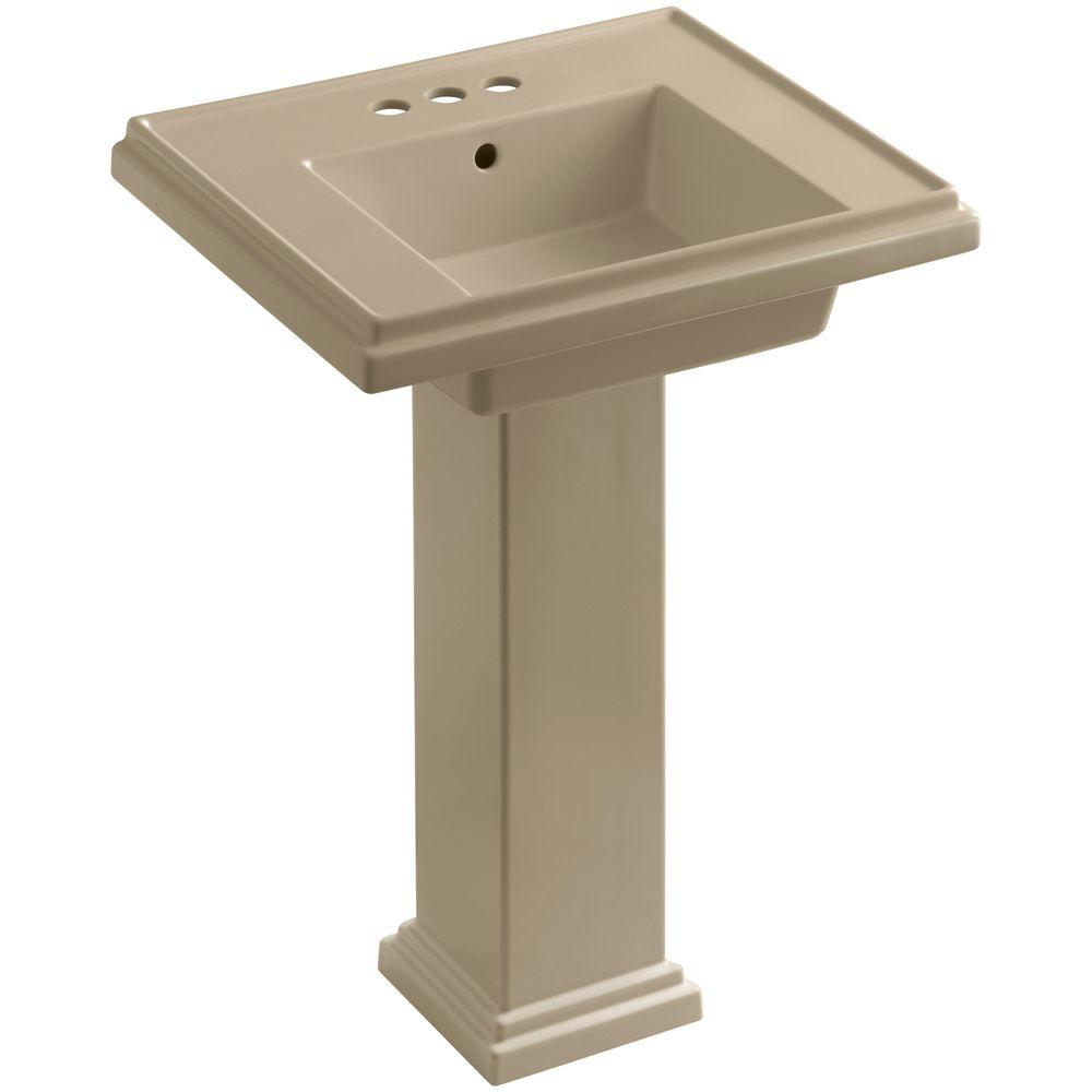 KOHLER Tresham Ceramic Pedestal Combo Bathroom Sink with 4 in. Centers in Mexican Sand with Overflow Drain