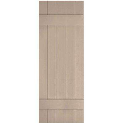 17-1/2 in. x 44 in. Lifetime Vinyl Custom Five Board Joined Board and Batten Shutters Pair Wicker