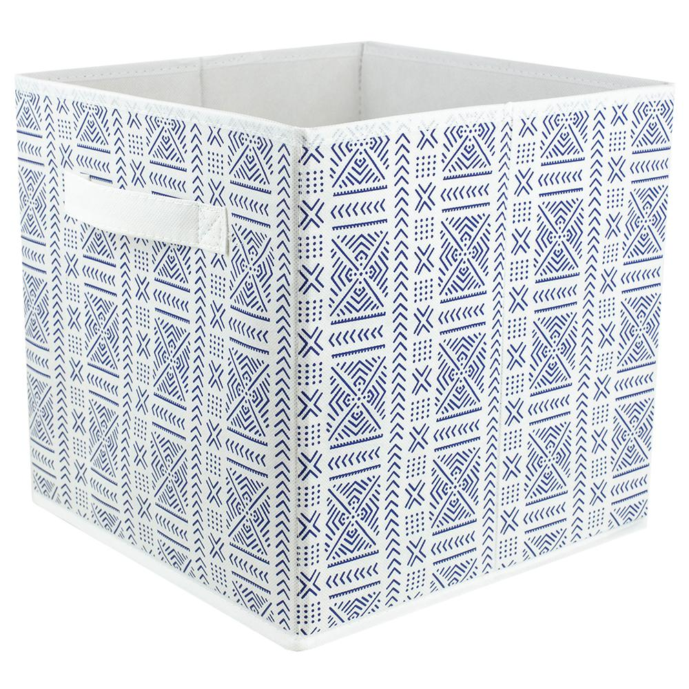 bf00b6e20ed9 10.5 in x 10.5 in Aztec Collapsible Non-Woven Storage Cube, Navy