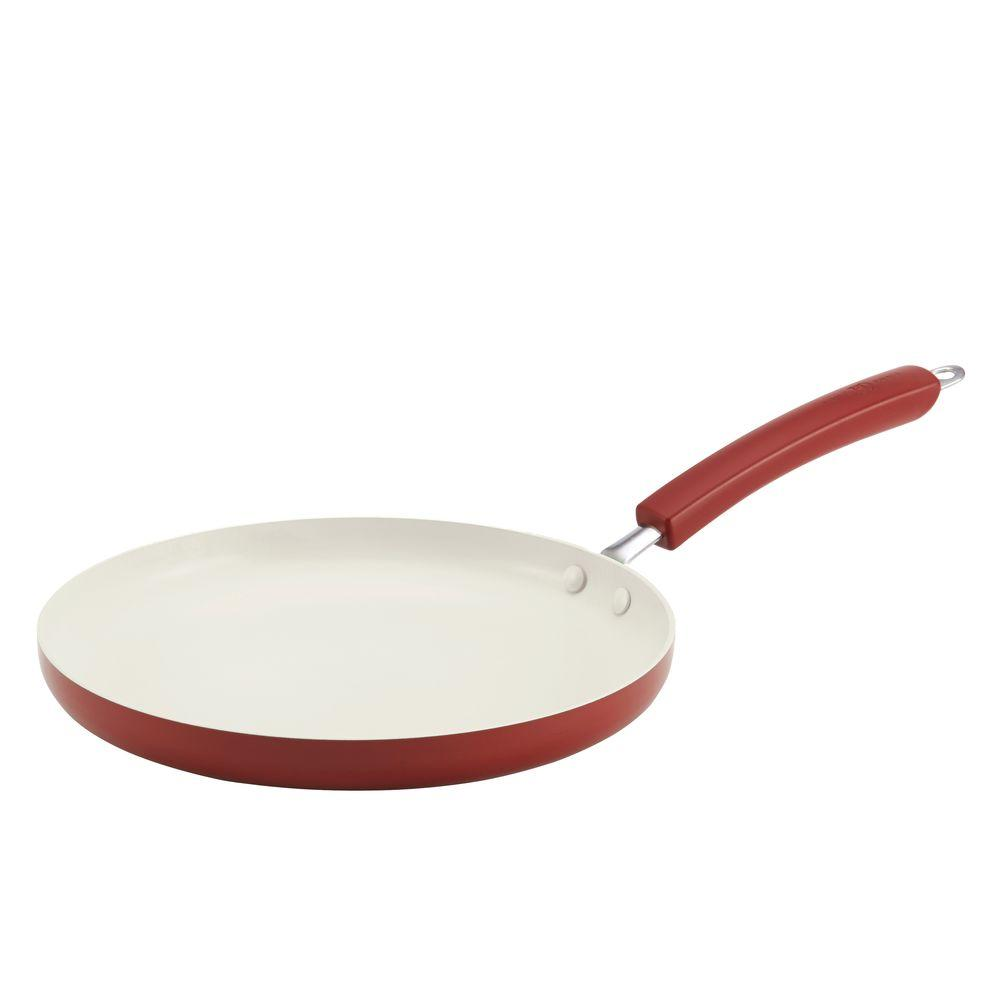 Paula Deen Savannah Collection 10.5 in. Aluminum Nonstick Round Griddle in Red
