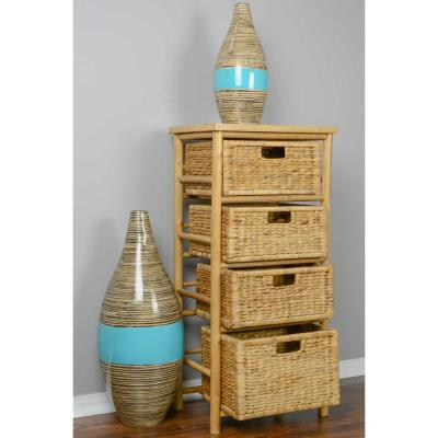 Shelly Assembled 17.75 in. x 17.75 in. x 13 in. Natural Bamboo Open Sided Accent Storage Cabinet with 4 Baskets