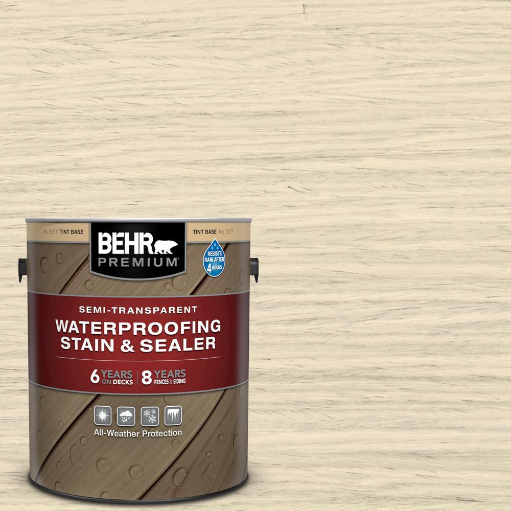 BEHR PREMIUM 1 gal. #ST-157 Navajo White Semi-Transparent Waterproofing Exterior Wood Stain and Sealer