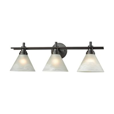 Pemberton 3-Light Oil Rubbed Bronze with White Marbleized Glass Bath Light