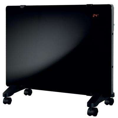 Glass Flat Panel Radiant Convection Variable 750-1500W Portable or Wall Mount Decor Digital Heater with Remote Control
