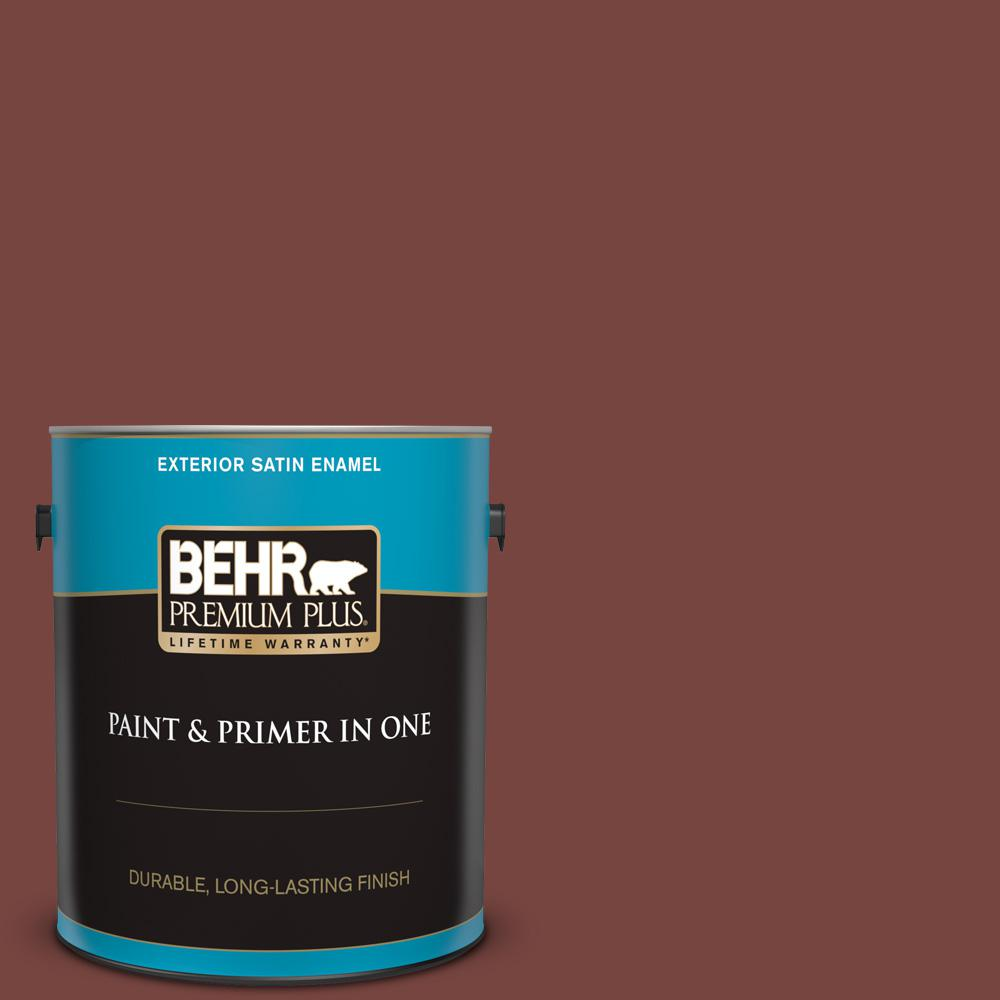 Behr Premium Plus 1 Gal S190 7 Toasted Pecan Satin Enamel Exterior Paint And Primer In One 934001 The Home Depot