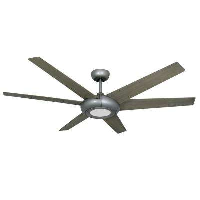 Elegant 60 in. LED Indoor/Outdoor Brushed Nickel Ceiling Fan with Light and Remote Control