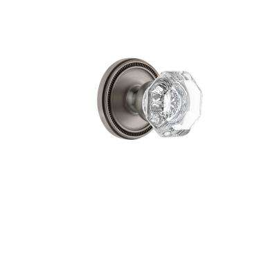 Soleil Rosette 2-3/8 in. Backset Antique Pewter Passage Hall/Closet with Chambord Crystal Door Knob