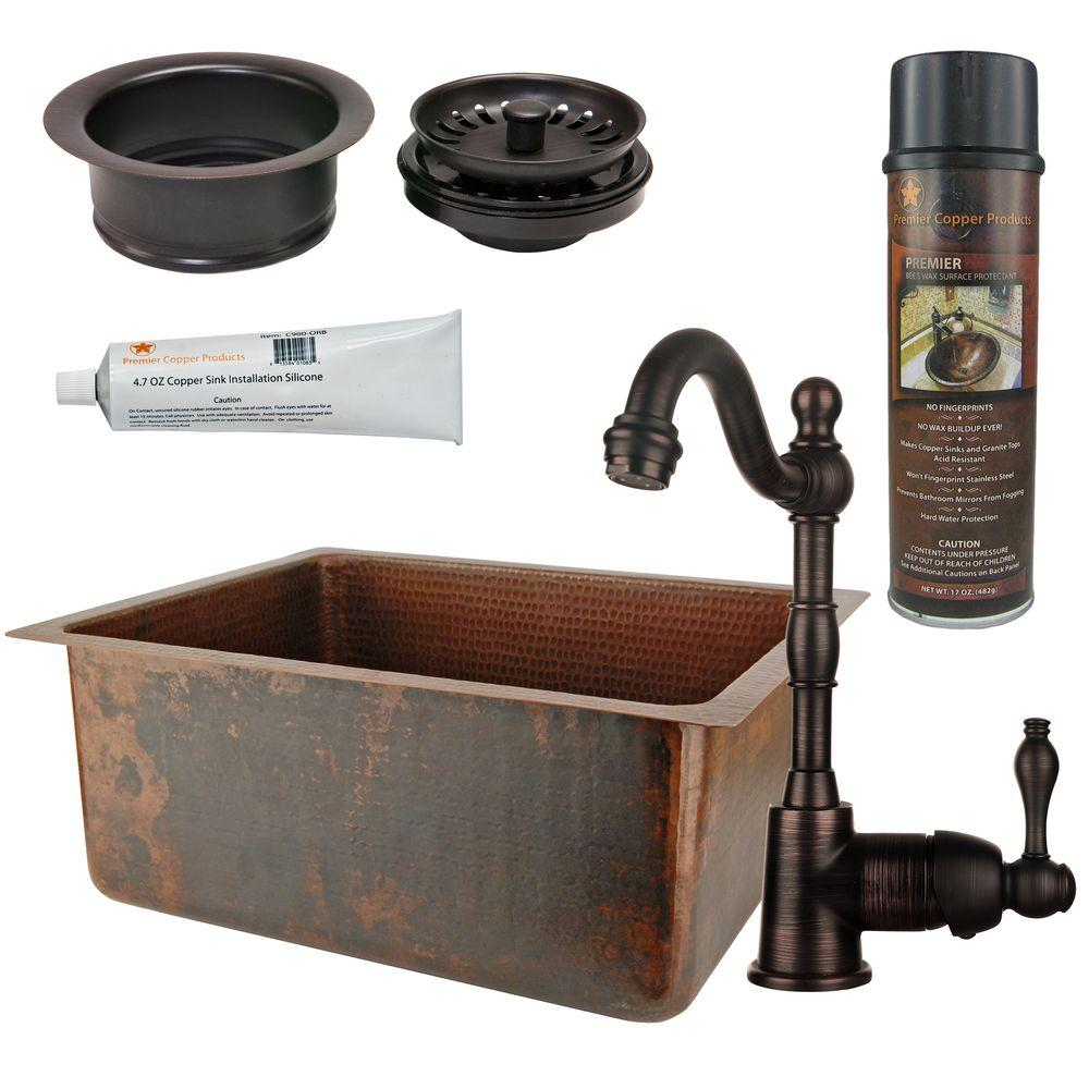 Premier Copper Products All-in-One Dual Mount Copper 20 in. 0-Hole Bar/Prep Basin Single Bowl Kitchen Sink in Oil Rubbed Bronze