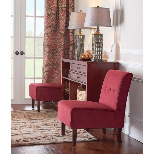 Linon Home Decor Coco Red Fabric Accent Chair 36096RED-01-KD-U