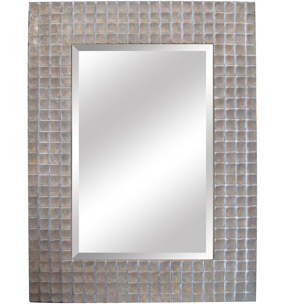 Yosemite Home Decor 37 in. x 50 in. Rectangular Decorative Silver Polyurethane Framed Mirror