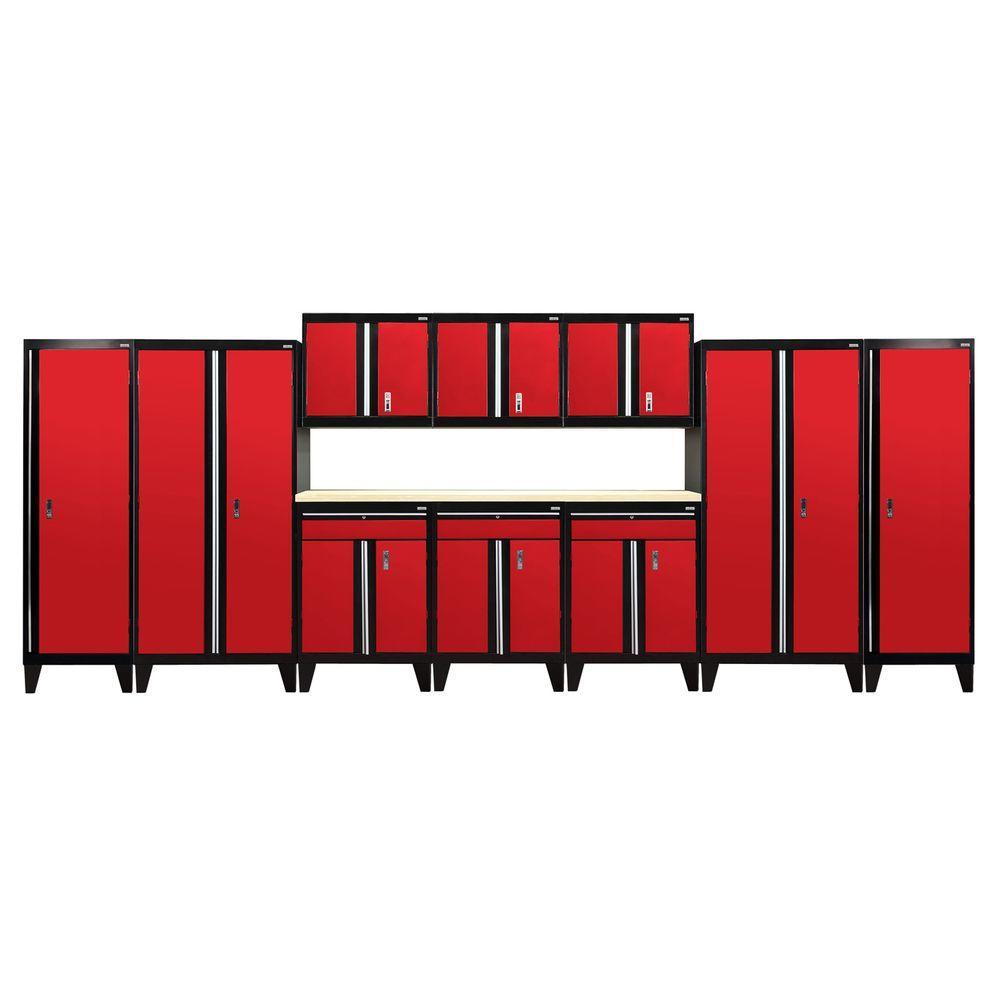79 in. H x 228 in. W x 18 in. D Welded Steel Garage Storage System in Black/Red (11-Piece)