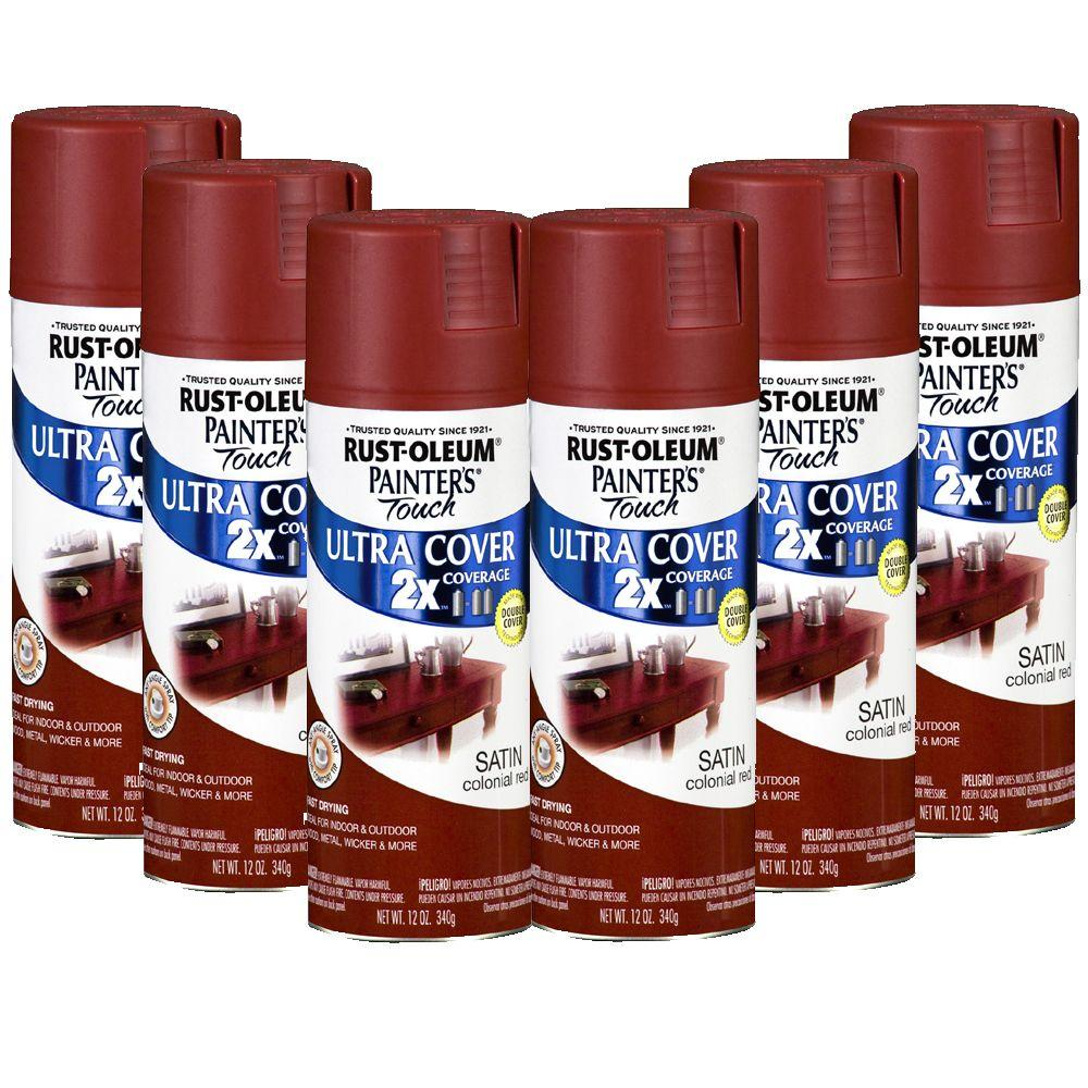 Rust-Oleum 2X Painter's Touch 12 oz. Satin Colonial Red Spray Paint (6-Pack)-DISCONITNUED-DISCONTINUED