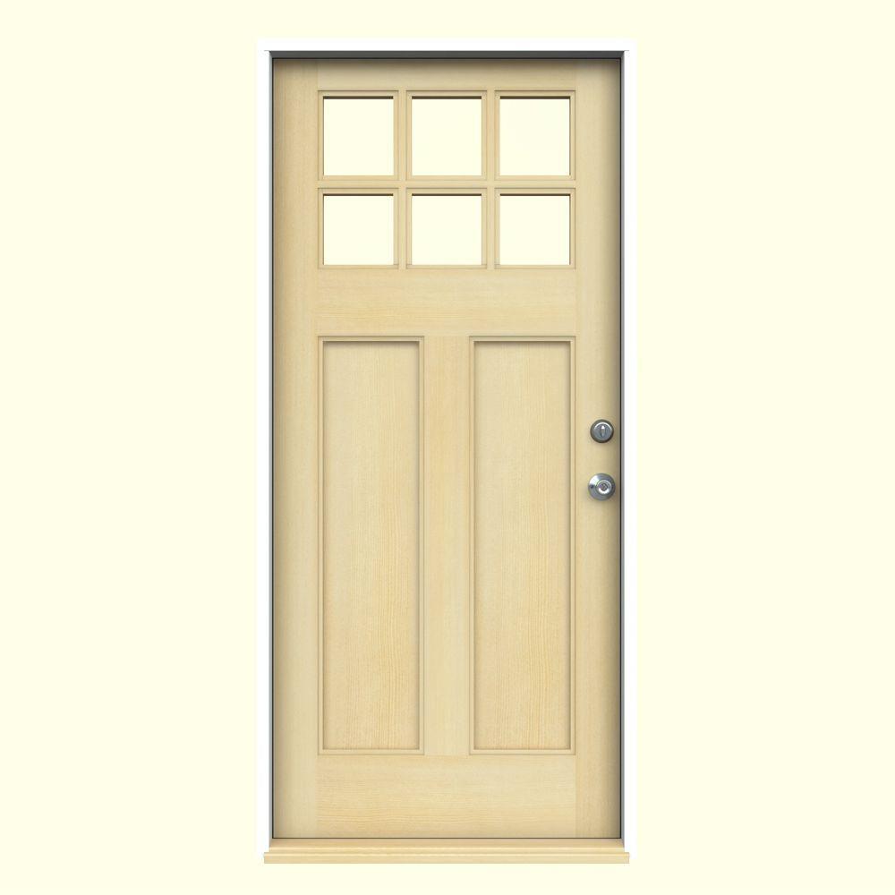 6 Lite Craftsman Unfinished Hemlock Prehung Front Door with Primed White AuraLast Jamb and Brickmold