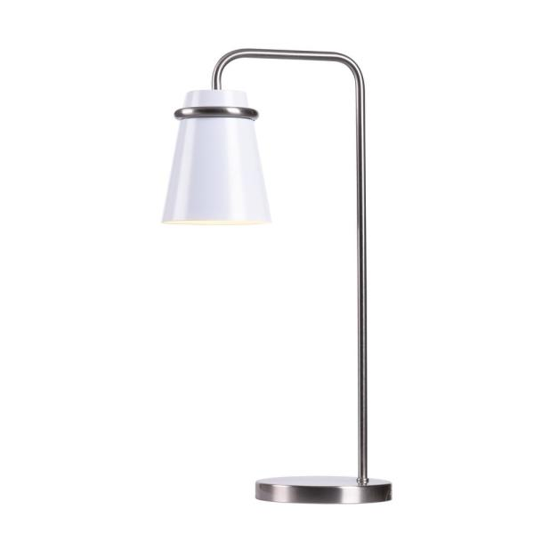 Nico 23 in. White and Brushed Steel Indoor Desk Lamp