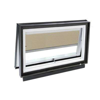 46-1/2 in. x 22-1/2 in. Solar Powered Venting Curb-Mount Skylight with Laminated Low-E3 Glass Beige Room Darkening Blind