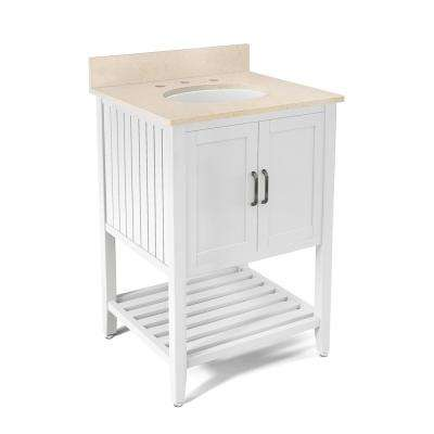 Bennett 25 in. W x 22 in. D Vanity in White with Marble Vanity Top in Beige with White Basin