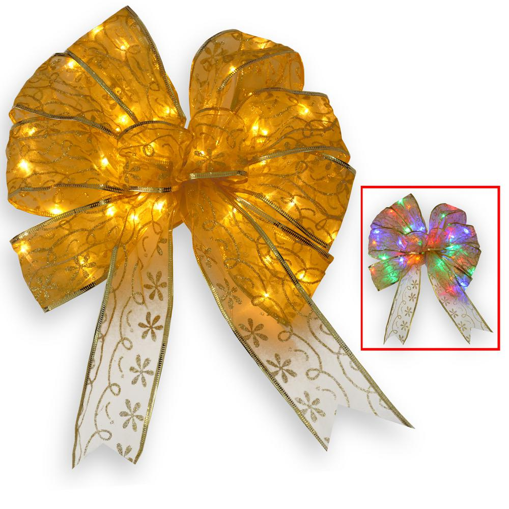 9 in. Gold Bow Tree Topper with Dual Color LED Lights