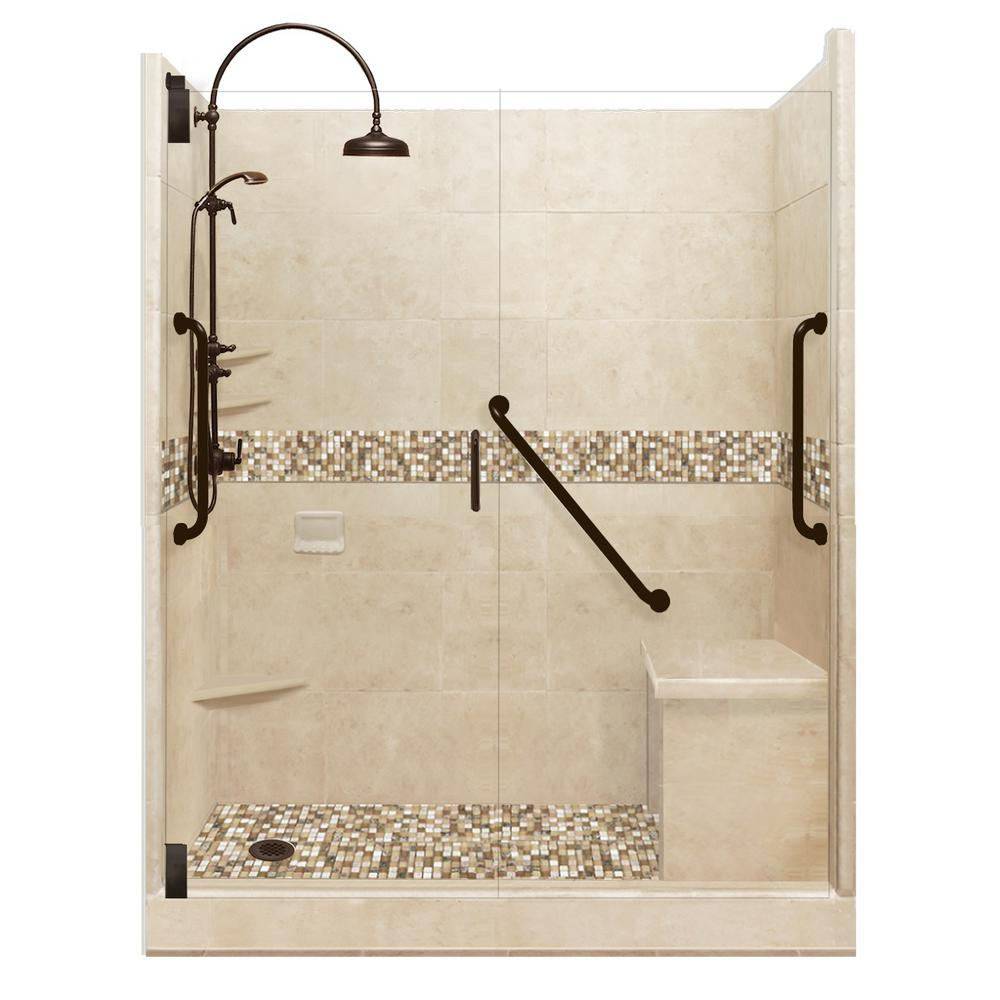American Bath Factory Roma Freedom Luxe Hinged 34 in. x 60 in. x 80 in. Left Drain Alcove Shower Kit in Brown Sugar and Old Bronze Hardware
