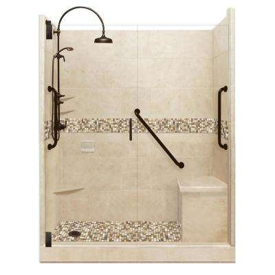 Roma Freedom Luxe Hinged 34 in. x 60 in. x 80 in. Left Drain Alcove Shower Kit in Brown Sugar and Old Bronze Hardware