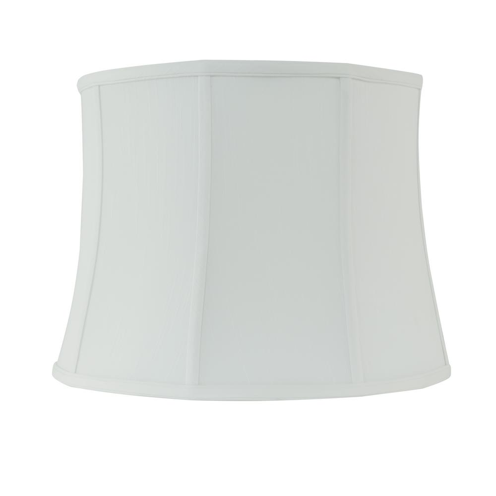 H White Linen Drum Lamp Shade