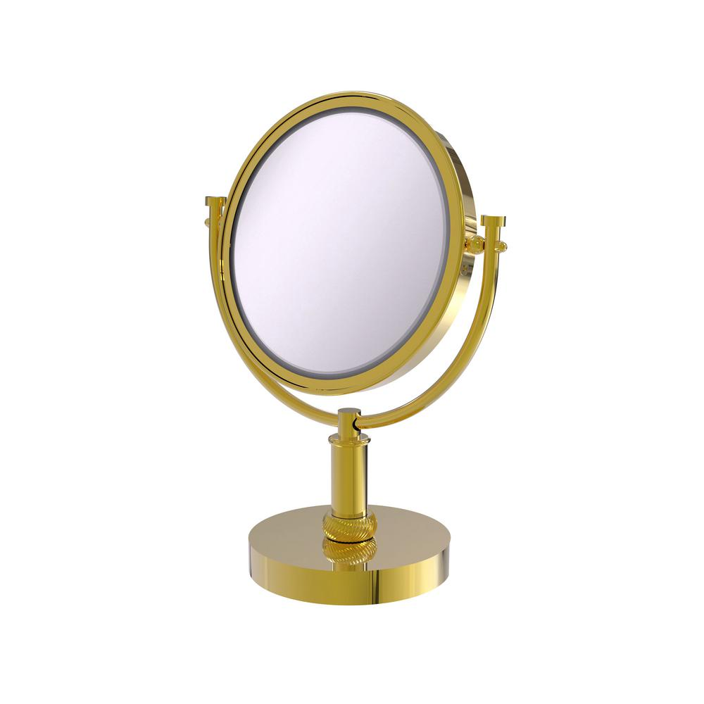 Allied Brass 8 in. Vanity Top Makeup Mirror 3X Magnification in Polished Brass
