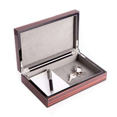 9.75 in. D x 2.25 in. H x 6.25 in. W Wood Jewelry Case in Brown