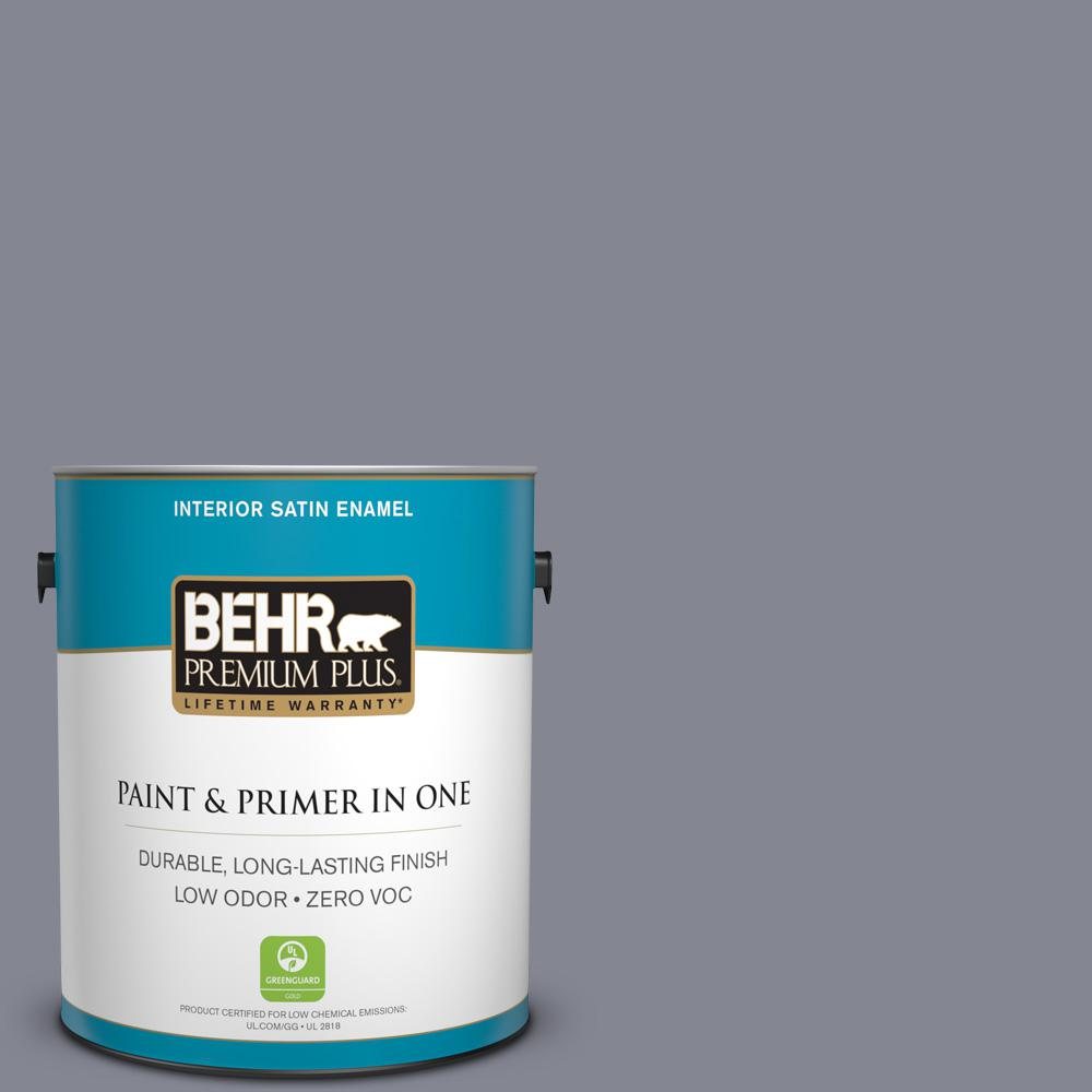 1 gal. #PPU16-15 Gray Heather Zero VOC Satin Enamel Interior Paint