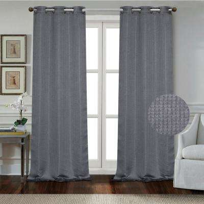 """Day to Night Times Square Blackout Noise Reducing Grommet Curtain Panel Pair, 38""""x84"""" Each(76""""x84"""" Total), Charcoal Grey"""