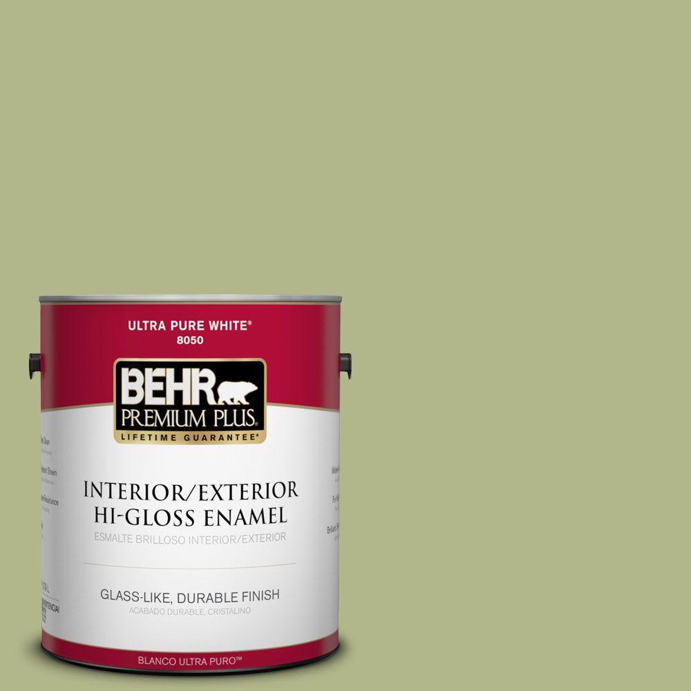 1-gal. #M350-4 Sweet Grass Hi-Gloss Enamel Interior/Exterior Paint