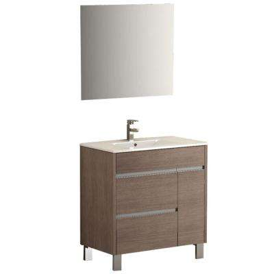 Tauro 32 in. W x 18 in. D x 34 in. H Vanity in Medium Oak with Porcelain Top in White with White Basin