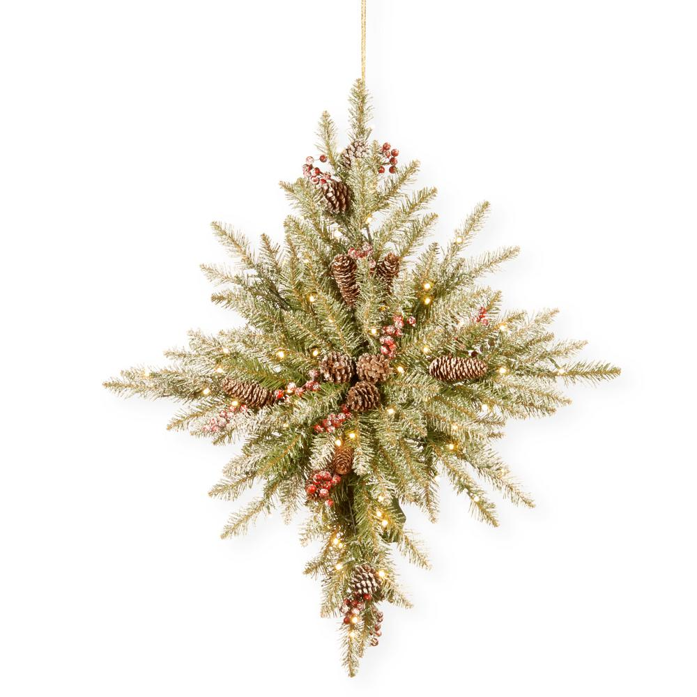 National Tree Company 32 In Snowy Dunhill Fir Bethlehem Star With Battery Operated Led Lights Duf3 301 32stb1 The Home Depot