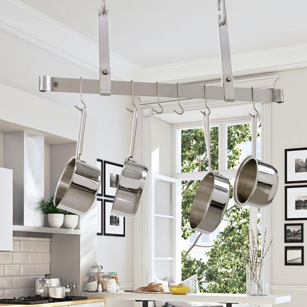 Adjule Ceiling Bar With 6 Hooks Stainless Steel