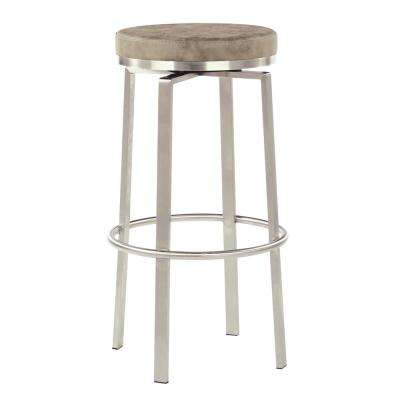 Katy 30 in. Counter Swivel Stool in Retro Grey Fabric with Stainless Steel Base (2-Pack)