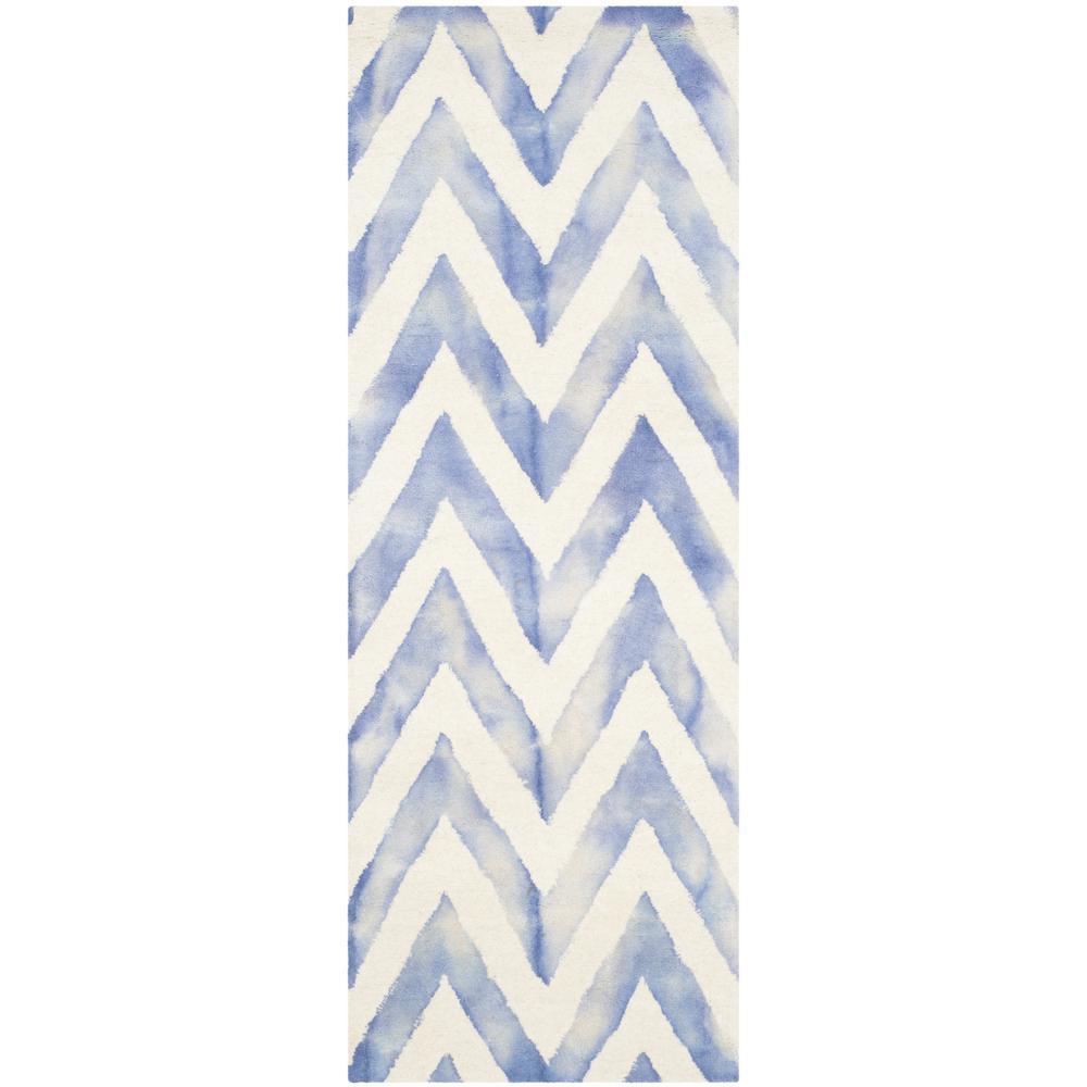 Dip Dye Ivory/Blue 2 ft. x 10 ft. Runner Rug