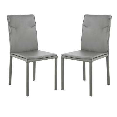 Maxwell Grey Vegan Leather Chair (Set of 2)