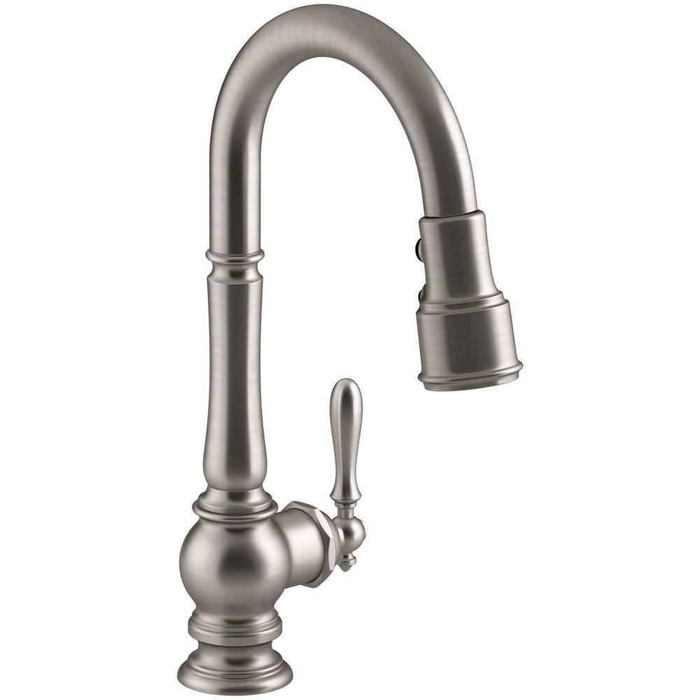 single handle pull down kitchen faucet kohler artifacts single handle pull sprayer kitchen 27459