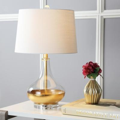 West 24.5 in. H Gold Leaf Glass Table Lamp