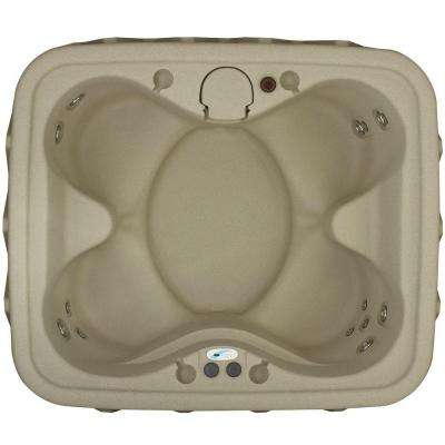 AR-400 4-Person Spa with 14 Jet in Stainless Steel, Easy Plug-N-Play and LED Waterfall in Cobblestone (120-Volt)