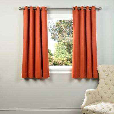 Semi-Opaque Blaze Orange Grommet Blackout Curtain - 50 in. W x 63 in. L (Panel)