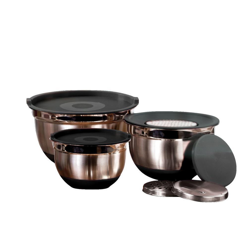 9 piece stainless steel mixing bowl set with lids and grater mw3470 the home depot. Black Bedroom Furniture Sets. Home Design Ideas