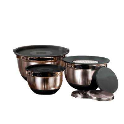 9-Piece Stainless Steel Mixing Bowl Set with Lids and Grater