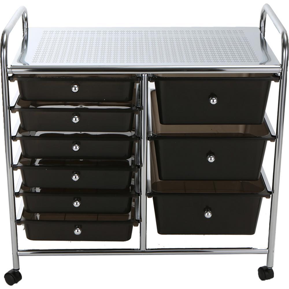 Top Shelf Metal 4-Wheeled Storage Drawer Cart with 9-Drawers in Silver/Black